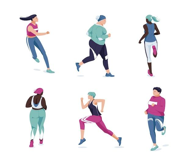 Courir les gens à plat. coureurs multiraciaux, athlètes, dessin animé de femmes sportives. marathon, exercice et athlétisme. entraînement sportif
