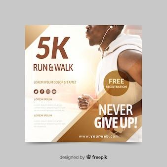 Courir et marcher bannière de sport avec image