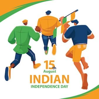 Courir à la poursuite du soleil le jour de l'indépendance indienne