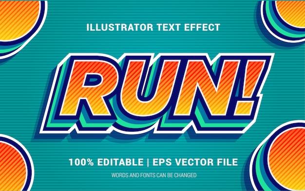 Courir! Style D'effets De Texte Vecteur Premium