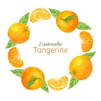 Couronne d'agrumes avec des mandarines aquarelles