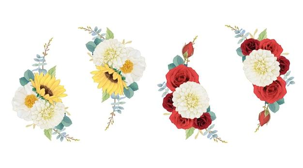 Couronne d'aquarelle d'automne de dahlia et de roses de tournesol