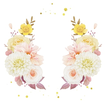Couronne d'aquarelle d'automne de dahlia et de roses