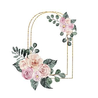Couronne d'aquarelle de belles fleurs roses délicates