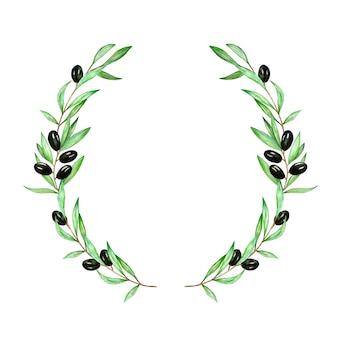 Couronne d'aquarelle d'une branche d'olivier avec des feuilles et des olives olives noires et vertes sur une variété de branches peint à la main
