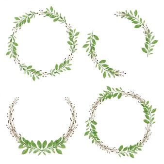 Couronne aquarelle avec cadre cercle feuille verte