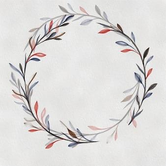 Couronne d'aquarelle. cadre rond floral peint à la main isolé