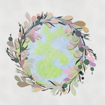 Couronne d'aquarelle. cadre rond floral peint à la main
