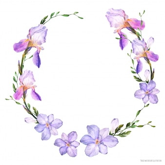 Couronne d'aquarelle décorative avec des fleurs d'iris et de freesia