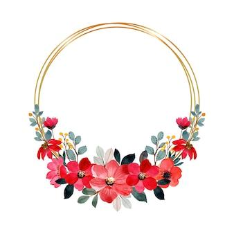 Couronne aquarelle fleur rouge avec cadre doré
