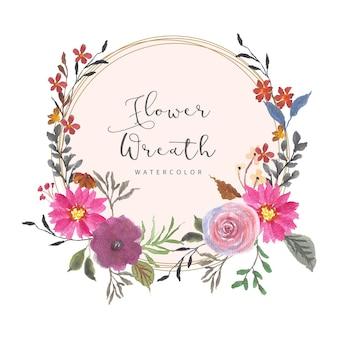 Couronne d'aquarelle floral violet rose rustique