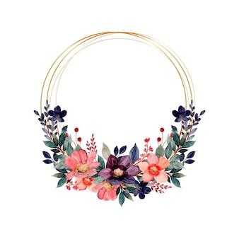Couronne aquarelle florale avec cercle doré