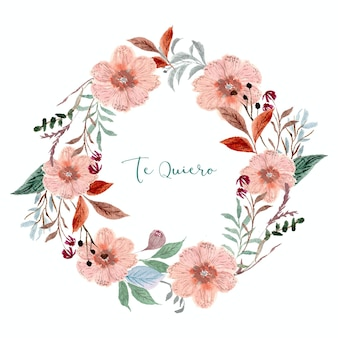 Couronne d'aquarelle florale rose tendre vintage