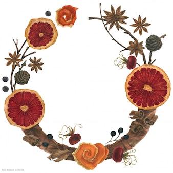 Couronne aquarelle florale de vin chaud épicé de noël