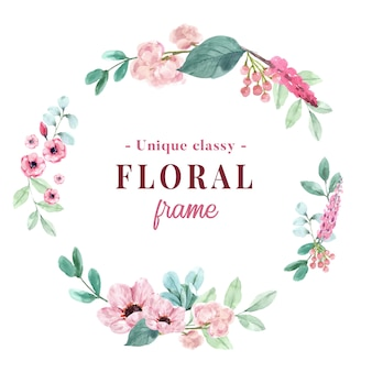 Couronne avec aquarelle florale vintage d'illustration de pivoine et d'anémone.