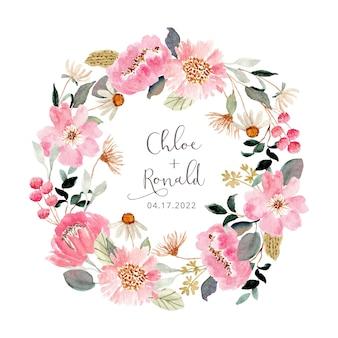 Couronne d'aquarelle de jardin floral rose frais