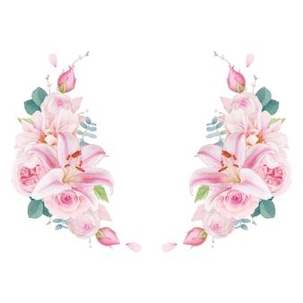 Couronne d'aquarelle de lys et de dahlia roses roses