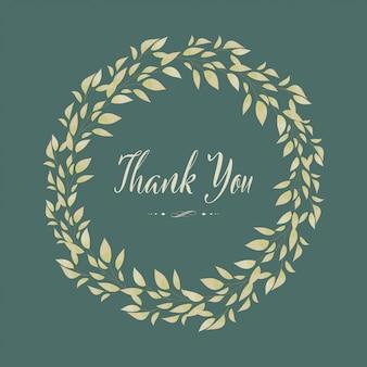 Couronne d'aquarelle peinte dessinée à la main. cadre floral de feuilles et de branches avec carte de remerciement.