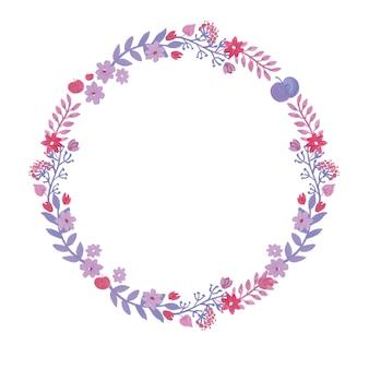 Couronne d'aquarelle romantique avec des fleurs à l'aquarelle