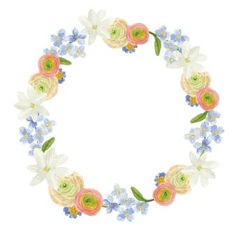 Couronne d'aquarelle ronde avec des fleurs bleues beiges et blanches