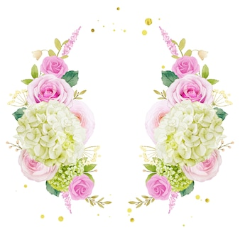 Couronne d'aquarelle de roses roses et d'hortensias