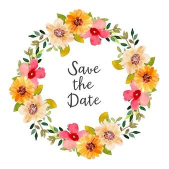 Couronne d'aquarelle save the date avec des fleurs rouges et jaunes