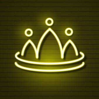 Couronne au néon sur le logo du mur de briques pour la conception web. illustration vectorielle