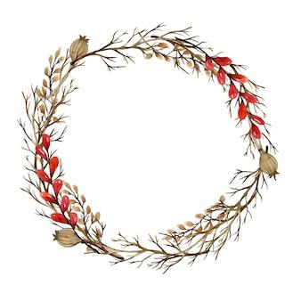 Couronne d'automne aquarelle avec des branches sèches et des baies