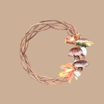 Couronne d'automne aquarelle avec des champignons et des feuilles