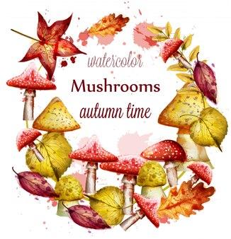 Couronne d'automne à l'aquarelle de champignons rouges