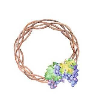 Couronne d'automne aquarelle avec des grappes de raisin
