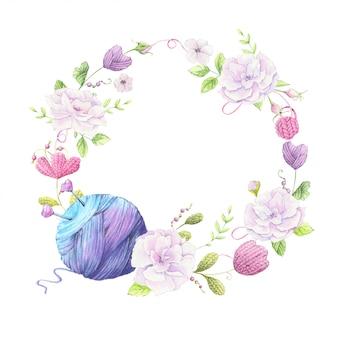 Couronne de bande dessinée d'éléments tricotés et accessoires et fleurs de printemps. dessin à main levée. illustration