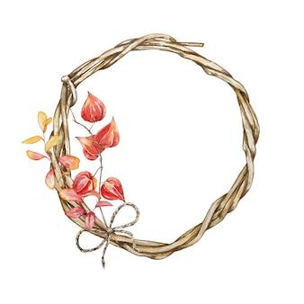 Couronne en bois avec une branche d'automne avec des feuilles