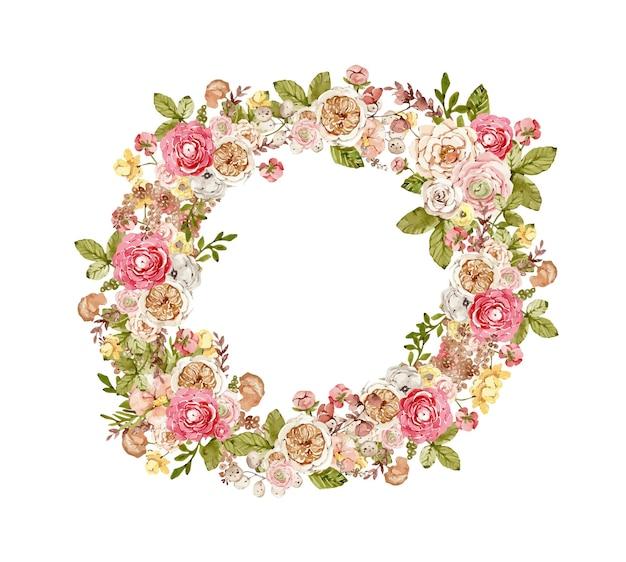Couronne botanique aquarelle avec des fleurs d'automne