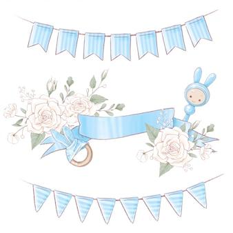 Couronne de bouquet anniversaire de douche de bébé nouveau-né. dessin à main levée