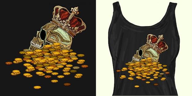 Couronne de broderie, crâne royal et pièces de monnaie