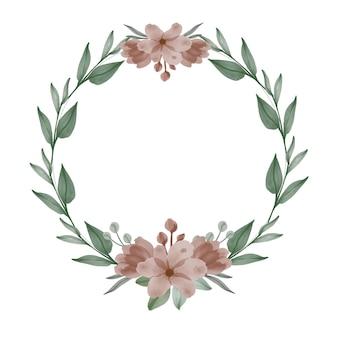 Couronne brune arrangement aquarelle de fleurs brunes et feuille verte