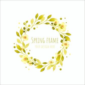 Couronne de cadre aquarelle floral de printemps