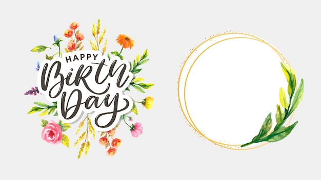 Couronne de cadre d'automne aquarelle joyeux anniversaire faite de feuilles d'automne et de fleurs dessinées à la main