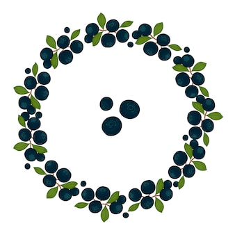 Couronne de cadre de bleuets aux feuilles vertes. illustration de style cartoon dessiné à la main.