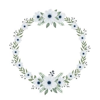 Couronne de cadre circulaire avec feuille et fleur bleue douce