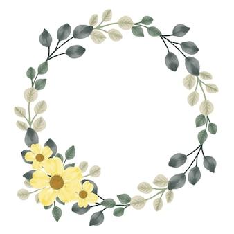 Couronne de cadre circulaire avec feuille et fleur jaune