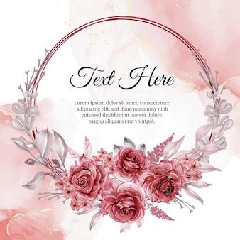 Couronne de cadre fleur aquarelle avec rose rouge
