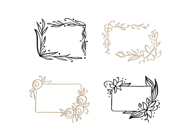 Couronne de cadre de mariage vecteur calligraphique avec place pour le texte. élément vintage s'épanouir isolé pour la conception