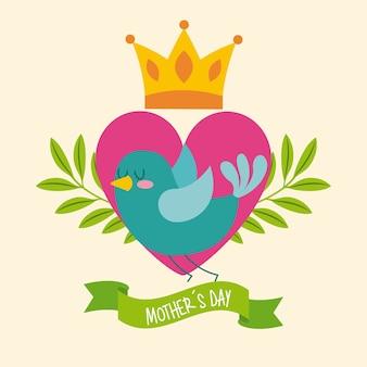 Couronne de coeur oiseau vert laisse la fête des mères ruban