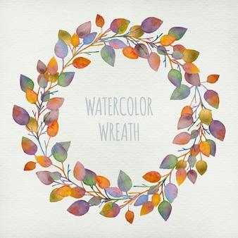 Couronne colorée décorative aquarelle