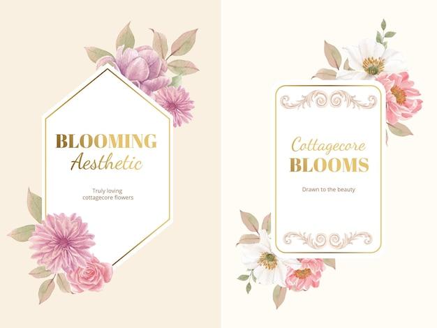Couronne avec concept de fleurs cottagecore, style aquarelle