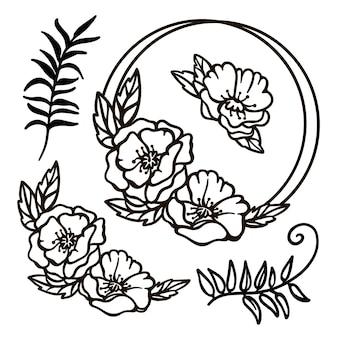 Couronne de coquelicots mariage monochrome collection de fleurs et de branches dans des contours ajourés de cadre pour l'impression cartoon cliparts vector illustration set