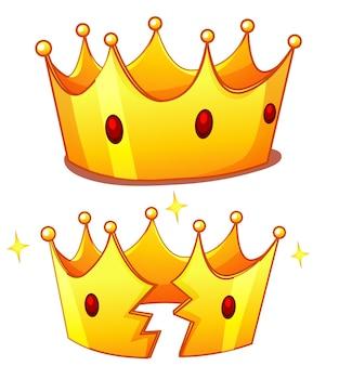Couronne avec une couronne cassée isolé sur fond blanc