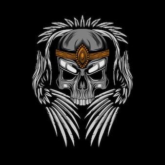Couronne de crâne avec ailes vector illustration